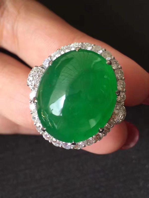 冰种色标帝皇绿 翡翠戒指20.617.28mm