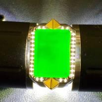 墨翠戒指 緬甸天然翡翠戒指 18K金+莫桑鉆鑲嵌