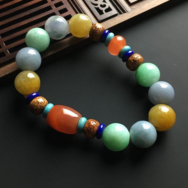 多彩精美翡翠珠子手链 直径13毫米