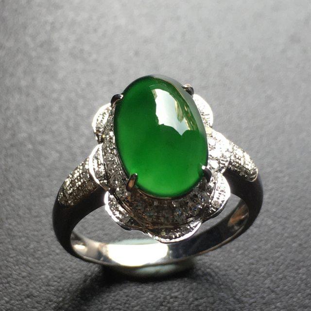 老坑冰种 满绿蛋面翡翠戒指