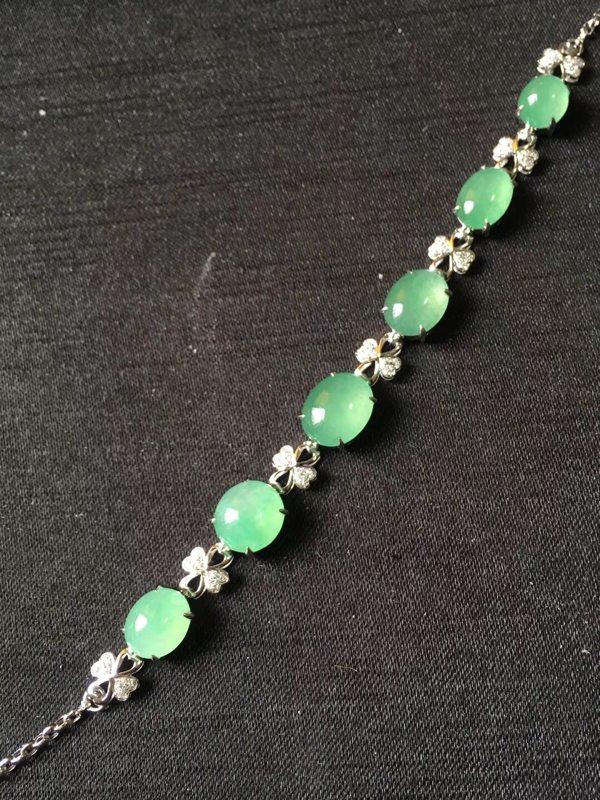 玻璃种绿水 四叶草翡翠手链7.56.54.5mm