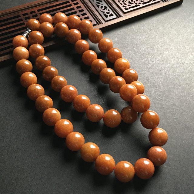 红翡佛珠翡翠项链 直径14mm