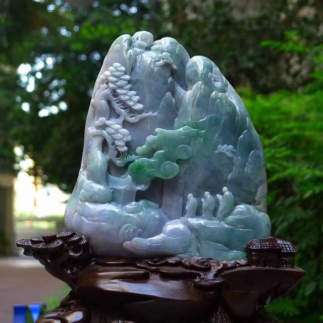 老坑蓝水飘绿 灵山问道山水翡翠摆件图2