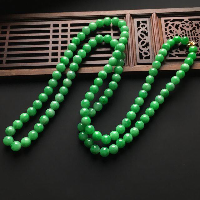 冰润阳绿天然翡翠项链 直径7毫米图3
