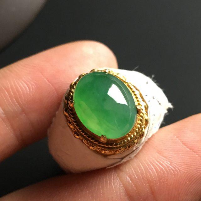 冰种飘绿 翡翠戒指 12-10-5毫米