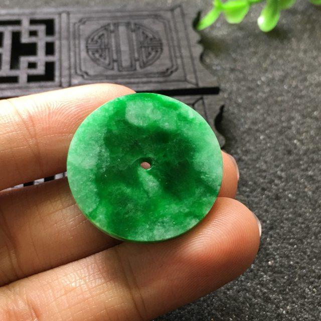 阳绿平安扣 冰糯种飘花平安扣 尺寸26.3*2.8mm