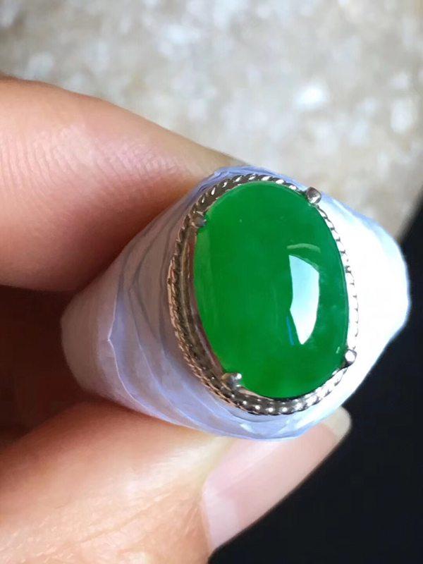 老坑冰种正阳绿色 翡翠戒指13-9-5mm