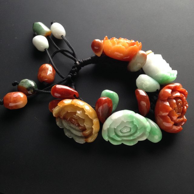 巧雕多彩 花开富贵天然翡翠手链 27-21-11毫米