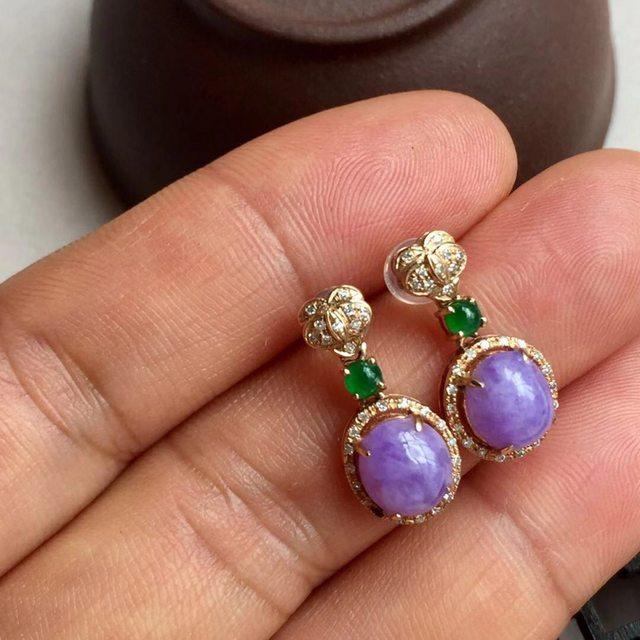 紫罗兰翡翠耳钉 自然光不失紫