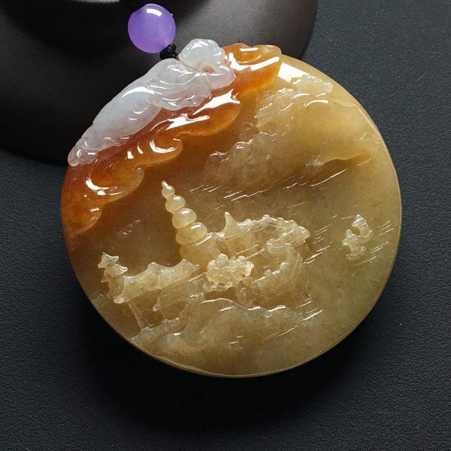 糯种黄翡吊坠 尺寸:55-10.6毫米