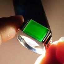 冰種墨翠 18k金鑽石翡翠戒指