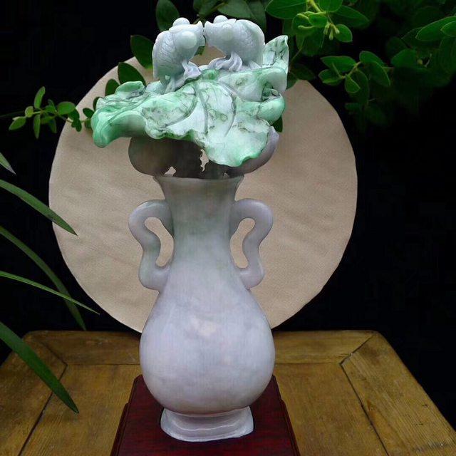糯种春带彩翡翠 花瓶盆景翡翠摆件