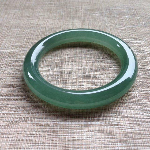 冰晴蓝水翡翠手镯  天然翡翠圆条手镯 尺寸 56/10/10.5mm