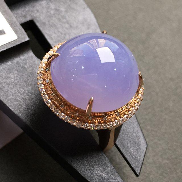冰种紫罗兰 翡翠戒指 18k金镶嵌钻石