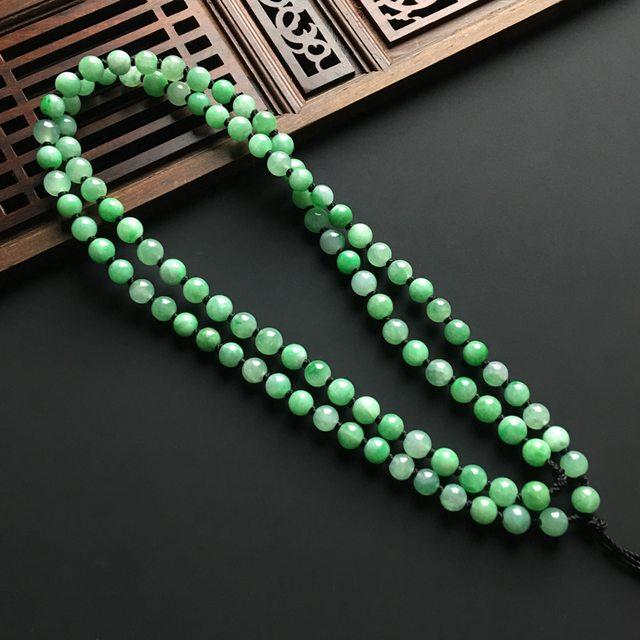 带色佛珠翡翠手链 直径5毫米