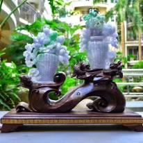 翡翠A货 老坑浅紫飘阳绿 花开富贵平平安安花瓶摆件