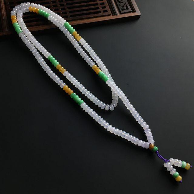 糯冰三彩盘珠翡翠项链6-3mm