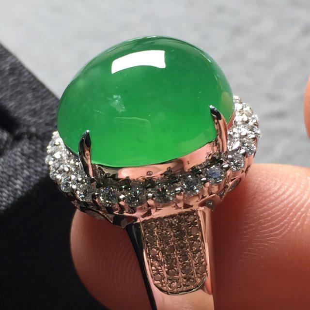 13.5*12.8*7寸高冰晴绿 缅甸天然翡翠戒指