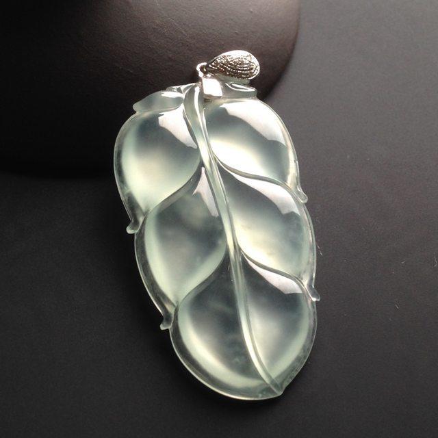冰种荧光叶子 翡翠挂件 尺寸44-24-5mm