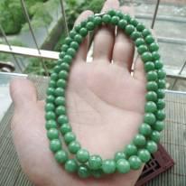 豆种满绿圆珠翡翠项链取大7.5mm