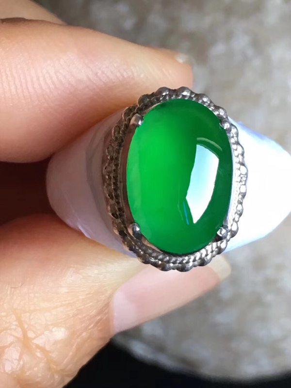 老坑冰种辣艳绿色 翡翠戒指13-9.2-4mm