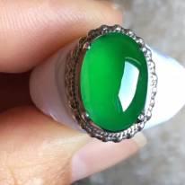 老坑冰種辣艷綠色 翡翠戒指13-9.2-4mm