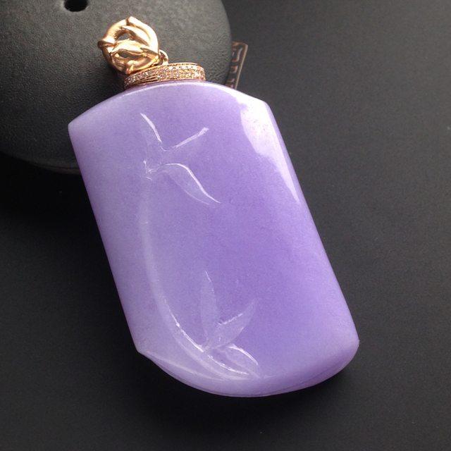 冰种紫罗兰翡翠吊坠   尺寸43.5-27.5-7.5毫米