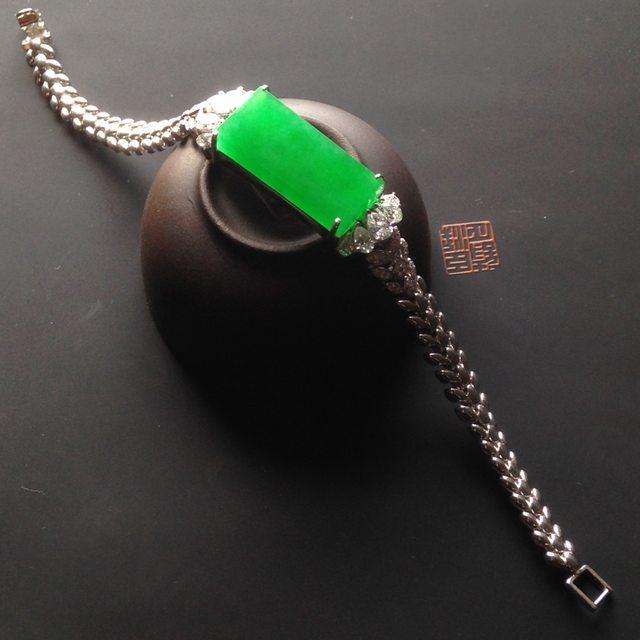 冰种阳绿翡翠手链裸石24-11-3.5mm