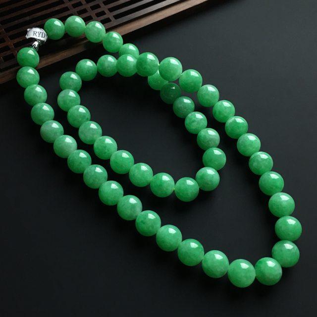 冰糯种阳绿翡翠佛珠项链 共53颗