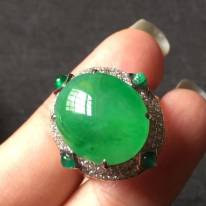 高冰起光正陽綠 緬甸天然翡翠戒指