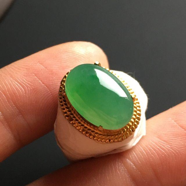 冰种晴绿 缅甸天然翡翠戒指