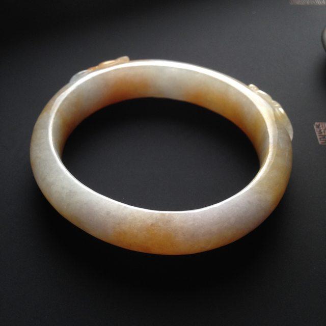 巧雕黄翡手镯  天然翡翠贵妃手镯 尺寸59-14-8毫米