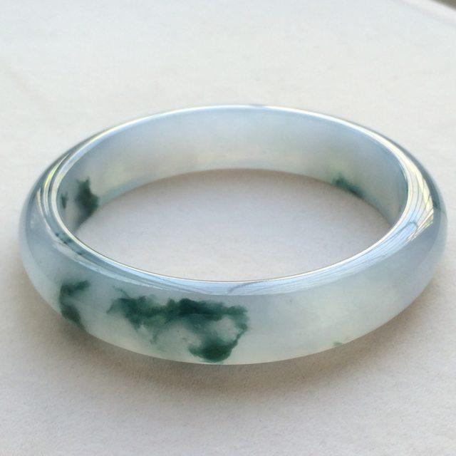 冰种飘花翡翠手镯 缅甸天然翡翠正圈手镯   尺寸:57.1寸