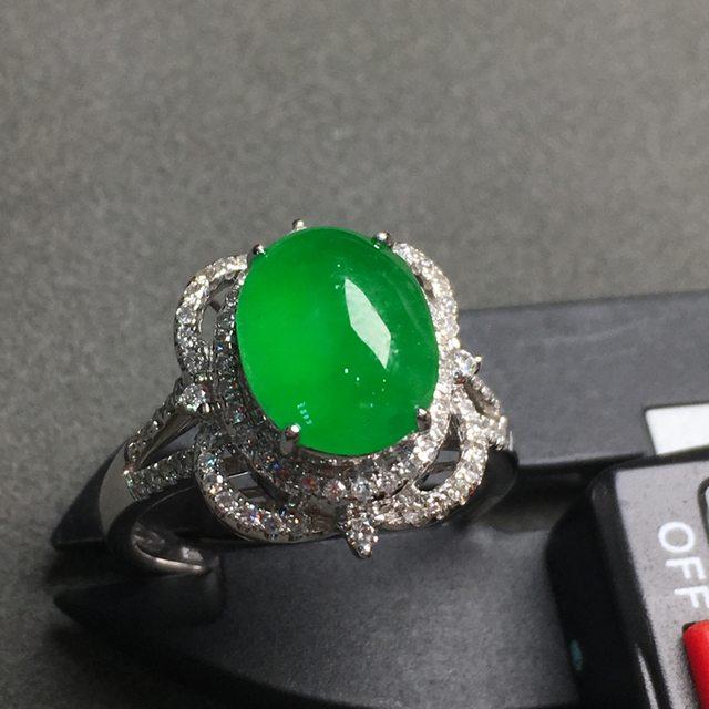 冰满绿女戒 缅甸天然翡翠戒指 玉质细腻