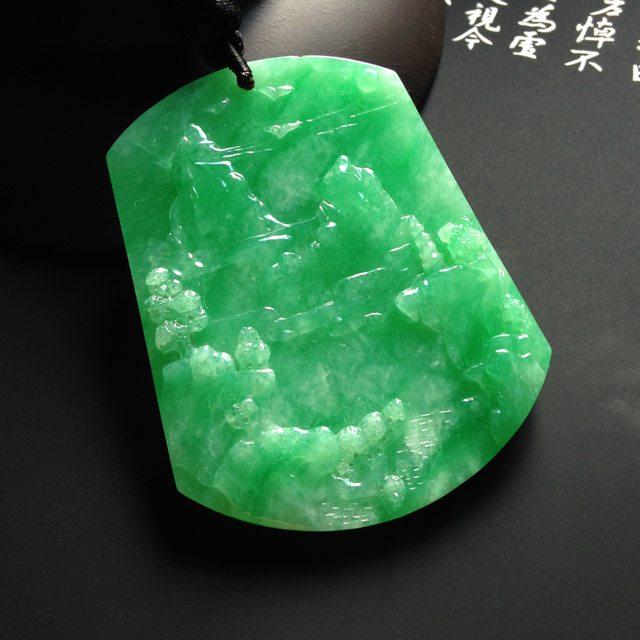 巧雕阳绿大好河山 翡翠吊坠 尺寸55-42-5mm