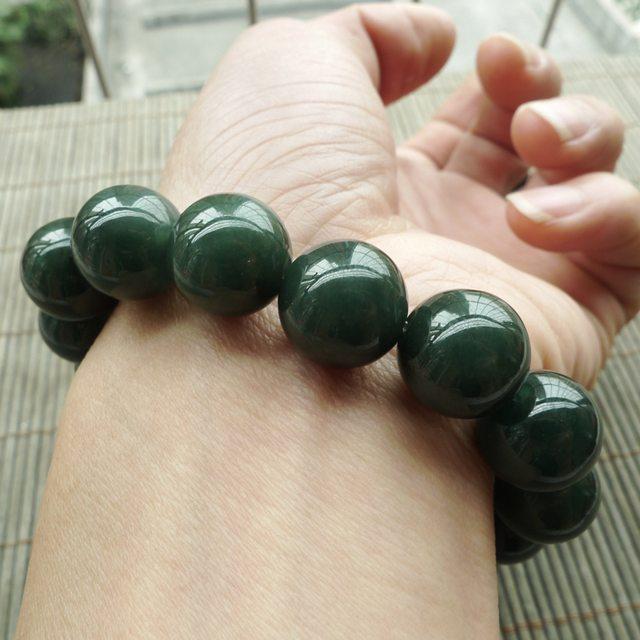 A货翡翠 冰油绿圆珠翡翠手链