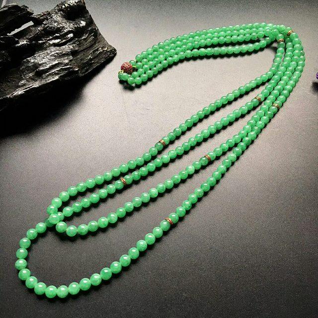 糯冰满绿转运珠翡翠项链取大 6.5-6.5mm