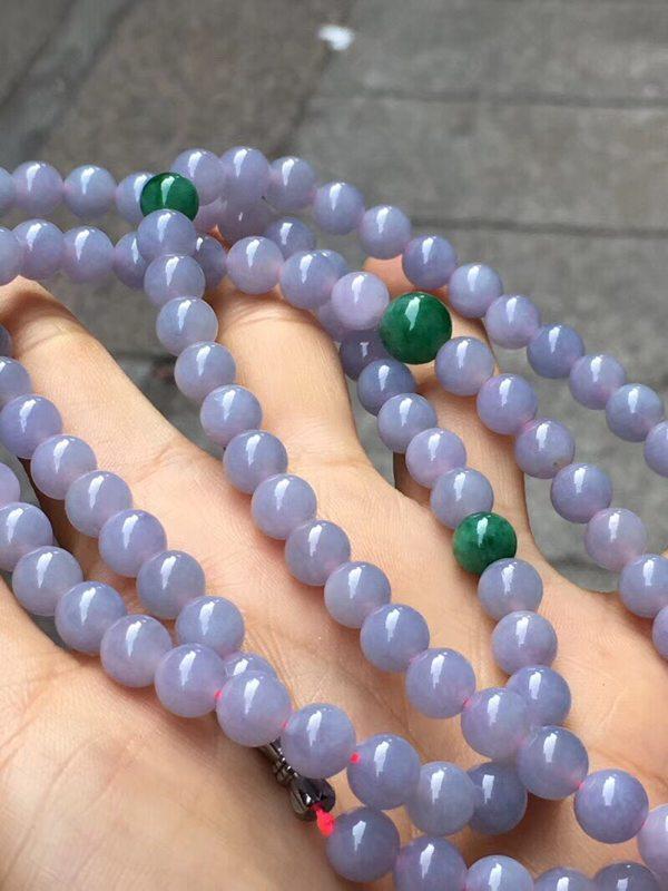 老坑冰种紫罗兰 天然翡翠珠链 108颗