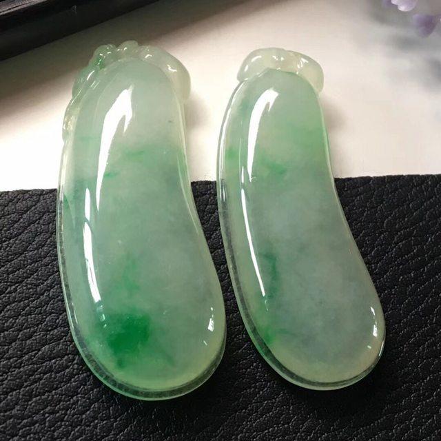 绿福瓜色阳(一对)尺寸40.4*15.5*6.7*39.3*15.0*5.6mm