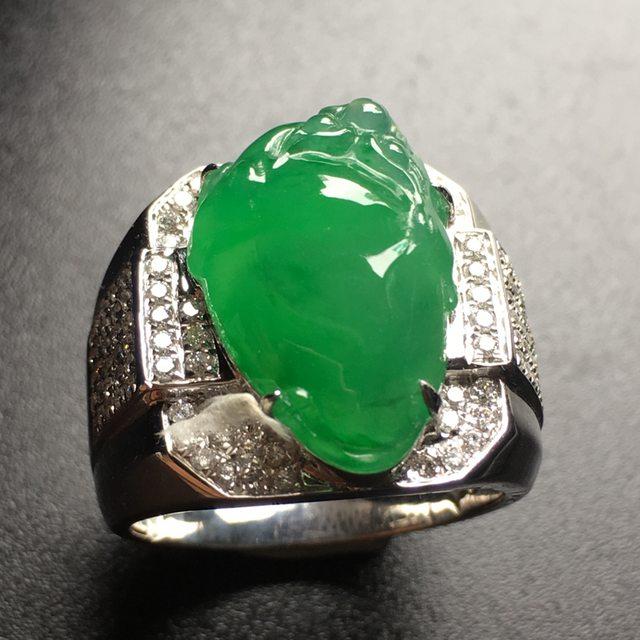 冰阳绿貔貅马鞍翡翠戒指