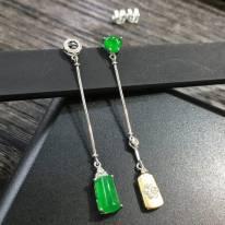 冰陽綠 翡翠耳墜 祼石尺寸8.4*5.6*5.0*4.9*5.3*4.1mm