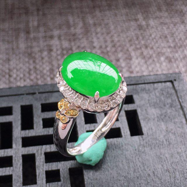 13.3*10.4*3.5寸冰糯种满阳绿翡翠戒指