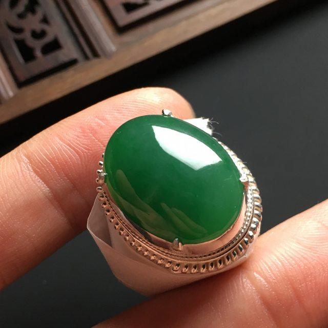 20-15-5寸冰种满色 缅甸天然翡翠戒指