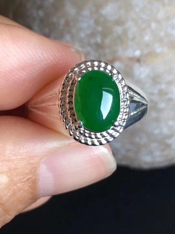 老坑冰种辣绿色 翡翠戒指9.2-7-3.6mm