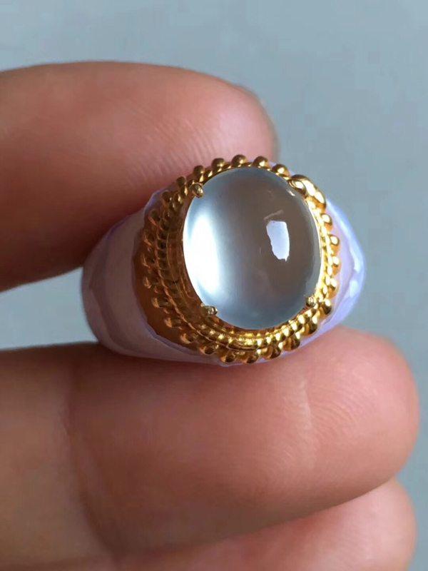 老坑玻璃种起荧光 缅甸天然翡翠戒指10.4-9-5mm