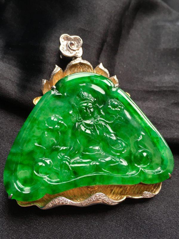 阳绿观音挂件裸石尺寸36-50-3.5