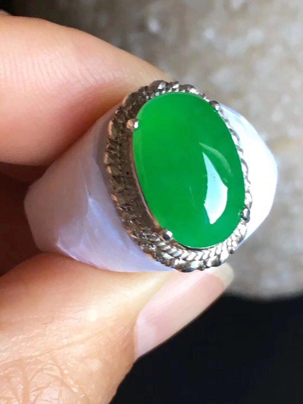 老坑冰种正阳绿色 翡翠戒指14-9.2-4.5mm