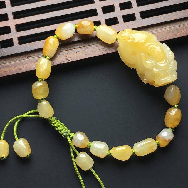 糯化种黄翡翡翠貔貅手串