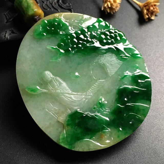 黄加绿淡泊人生翡翠挂件  尺寸60-53-9.5毫米