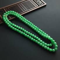 糯冰阳绿佛珠翡翠项链 直径7毫米